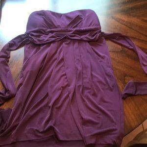 Purple sleeveless dress with pockets
